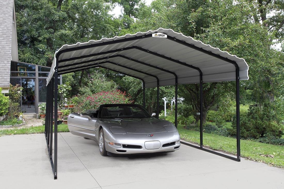 Sports car under Arrow Carport