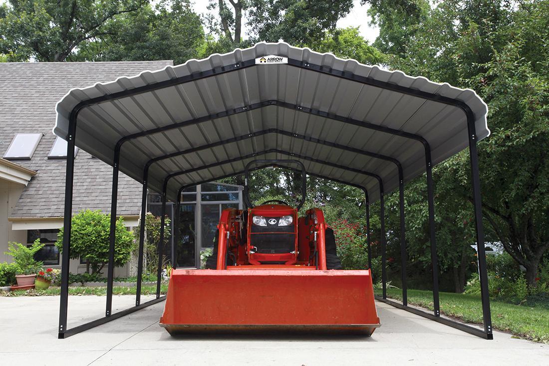 Tractor under Arrow Carport