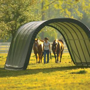 12x20x8 Round Style Run-In Shelter, Green Cover
