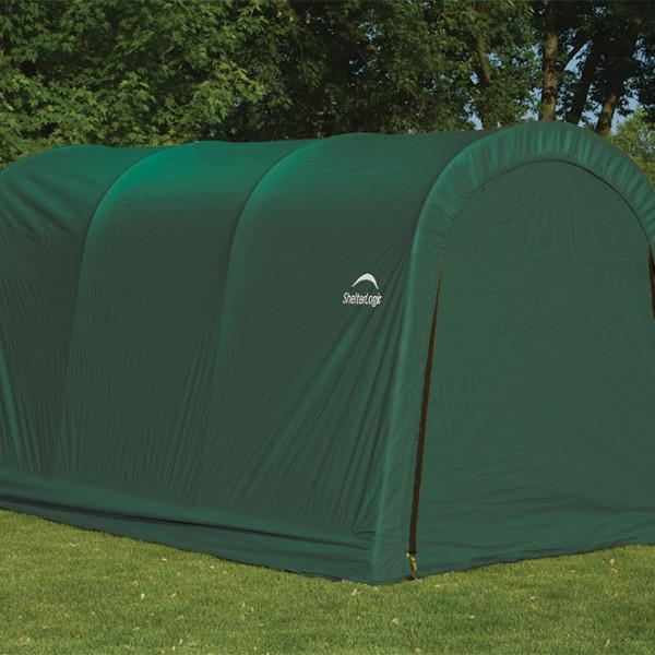 10x15x8 ft. / 3×4,6×2,4 m  Round Style Auto Shelter, 1-3/8″ / 3,5 cm 4-Rib Frame, Green Cover