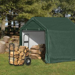 6x6x6′ Peak Style Storage Shed, 1-3/8″ Frame, Green Cover