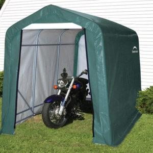 6x10x6'6″ Peak Style Storage Shed, 1-3/8″ Frame, Green Cover