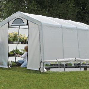 3×6,1×2,4 m Peak Style Grow It Greenhouse-in-a-Box with Side Vents, 2-Zipper Door with Screened Window, Back Panel with Screened Window
