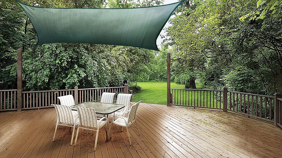 patio decorating ideas, shade sail, patio shade