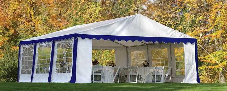 Blue and White Party Tent Autumn