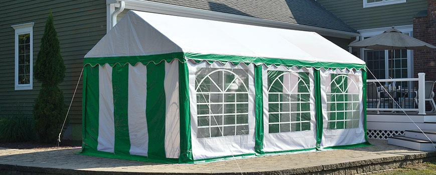 Green and White Party Tent with Enclosures