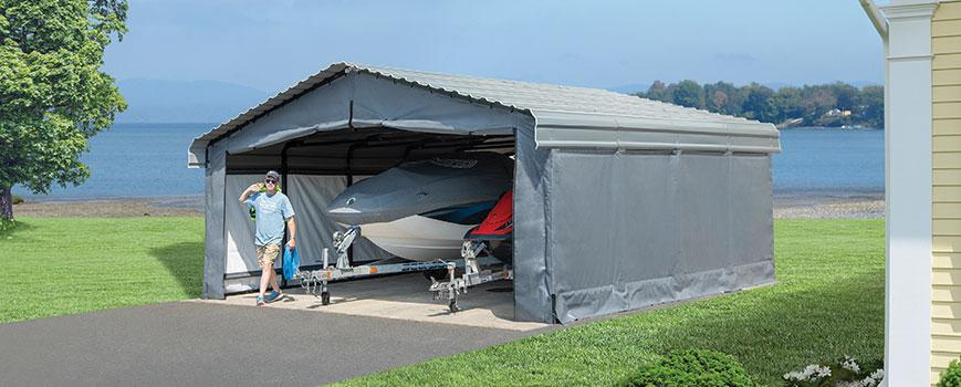 A freestanding carport converted into a storage shed.
