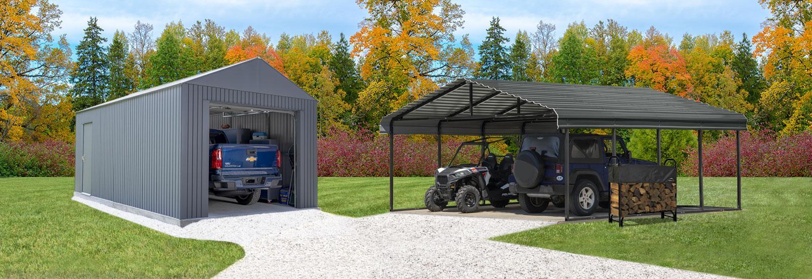 Fall Backyard Essentials Carport and Garages