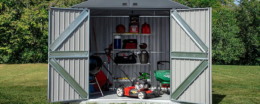 Arrow Elite metal shed for landscaping equipment storage